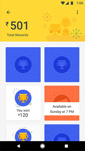 Tez App marketing feature of Scratch cards