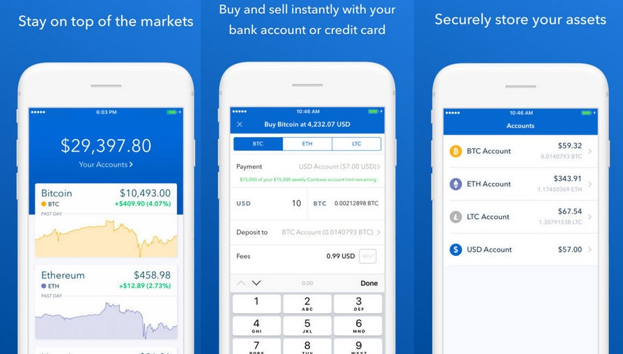 Coinbase app for Bitcoin, Ehereum , Litcoin etc.