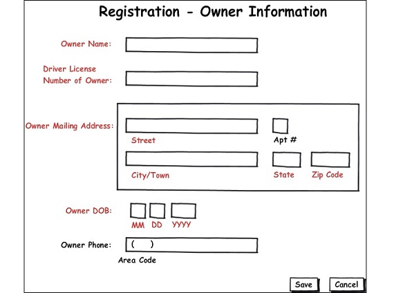 Example of  a wireframe for Requirements document
