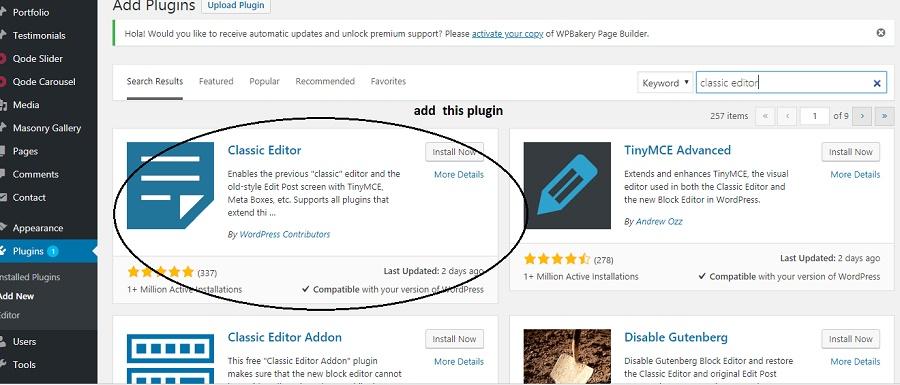 adding  back classic editor wordpress from plugins