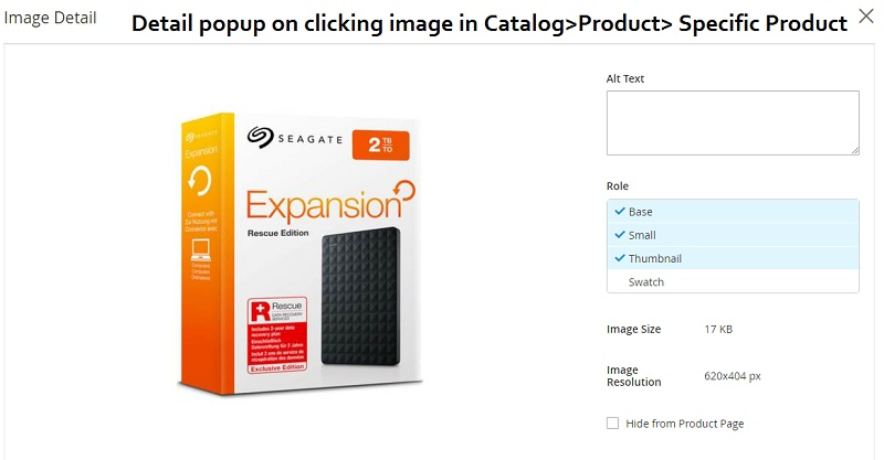seo option for optimizing the product image tag